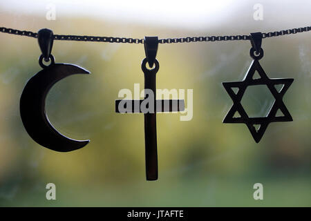 Symbols of Islam, Christianity and Judaism, Eure, France, Europe - Stock Photo