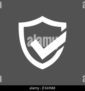 Active protection shield icon on a dark background - Stock Photo