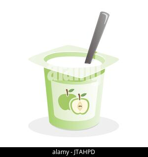 Apple yogurt with spoon inside on white background - Stock Photo