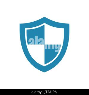 Blue high security shield icon on a white background - Stock Photo