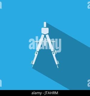 Drawing compass icon with shade on blue background - Stock Photo