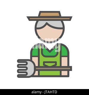 Gardener avatar icon on white background - Stock Photo