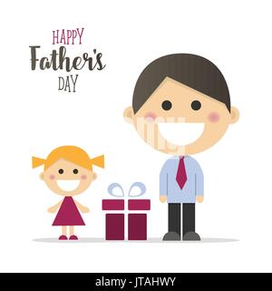Happy fathers day card with a gift - Stock Photo