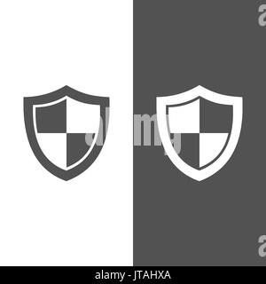 High security shield icon on black and white background - Stock Photo