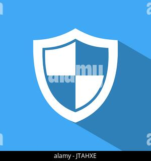 High security shield icon with shade on a blue background - Stock Photo