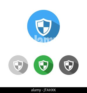 High security shield icon with shade on colored buttons - Stock Photo