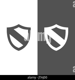 Protection shield icon on black and white background - Stock Photo