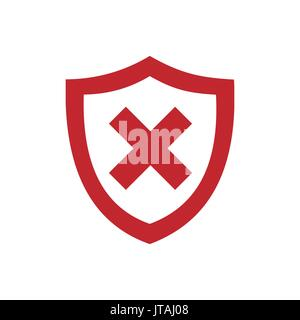 Red unprotected shield icon on a white background - Stock Photo