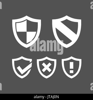 Set of protection shield icons on a dark background - Stock Photo