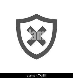 Unprotected shield icon on a white background - Stock Photo