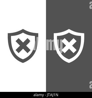 Unprotected shield icon on black and white background - Stock Photo