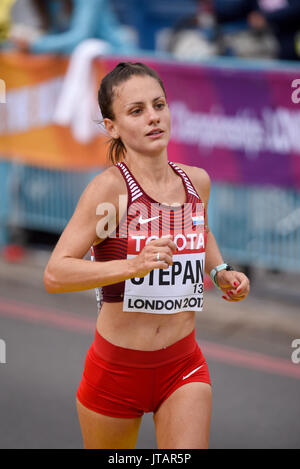 Nikolina Stepan of Croatia crossing the finish line at the end of the IAAF World Championships 2017 Marathon race - Stock Photo