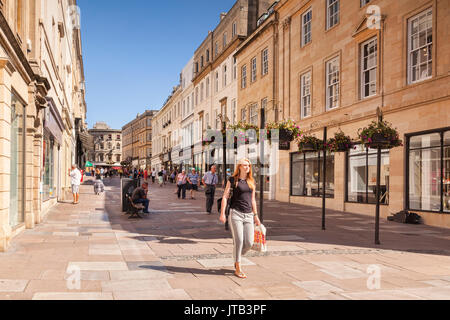 5 July 2017: Bath, Somerset, England, UK - Shopping in Union Street, in the city centre, on a beautiful summer day. - Stock Photo