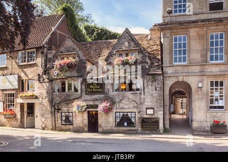 7 July 2017: Bradford on Avon, Somerset, England, UK - The 16th century Bridge Tea Rooms, one of the top places - Stock Photo