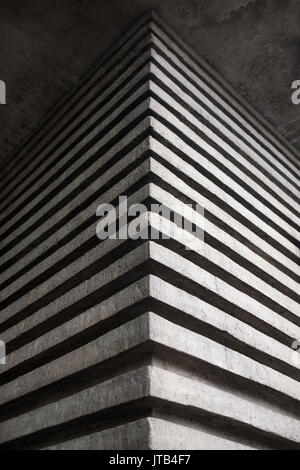 The effective angle of a concrete building in the form of three-dimensional stripes. - Stock Photo