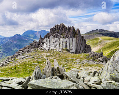 Castle of the Winds, Castell y Gwynt, the famous summit on the Glyders ridge, Snowdonia National Park, North Wales, - Stock Photo