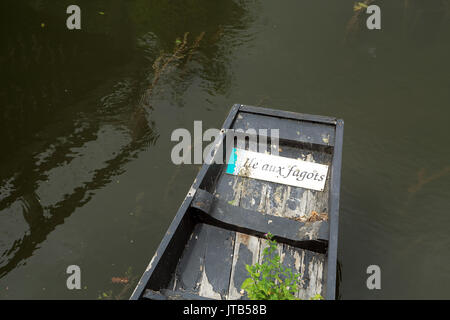 Moored boat with Ile aux Fagots sign at Les Hortillannages, Amiens, Somme, Hauts de France, France - Stock Photo