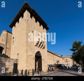 Republic of San Marino.  Porta San Francesco, the gate of St. Francis, also known as Porta del Loco.  Entrance into - Stock Photo