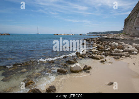 Antibes, Mediterranean resort town enclosed by 16th-century ramparts, located between Cannes and Nice on French - Stock Photo