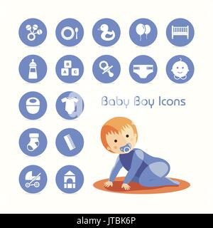 Baby boy crawling and icons set - Stock Photo