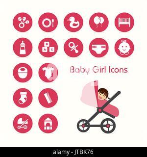 Baby girl on stroller icons set - Stock Photo