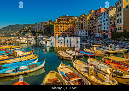 Italy Liguria Camogli view of the fisher port - Stock Photo