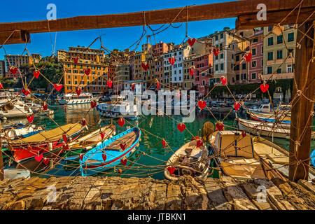 Italy Liguria Camogli view of the fisher port - Stock Photo