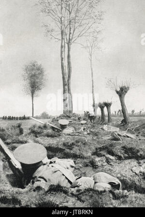Awaiting the order to charge, WW1, 1915 - Stock Photo
