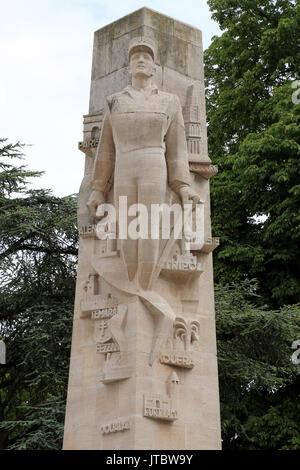 Monument du General Leclerc in Place Rene Goblet, Amiens, Somme, Hauts de France, France - Stock Photo