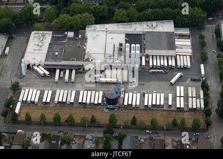 aerial view of Darigold Milk processing products plant, 4058 Rainier Ave S, Seattle, Washington State, USA - Stock Photo