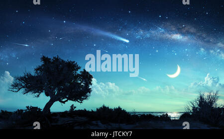 Shooting Stars In Fantasy Landscape At Night - Stock Photo