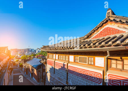 Bukchon Hanok Village in Seoul, South Korea. - Stock Photo