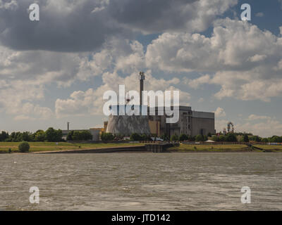 Amusement park Wunderland in Kalkar, Germany, view from the other bank of the Rhine on a cloudy day - Stock Photo