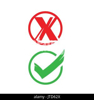 no and yes signs, icon design,  isolated on white background. - Stock Photo