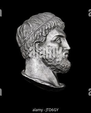 Greek Novelist Sophocles on Black Background - Stock Photo