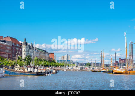 Boats moored in North Harbour (Pohjoissatama). Helsinki. Finland, Scandinavia, Europe - Stock Photo