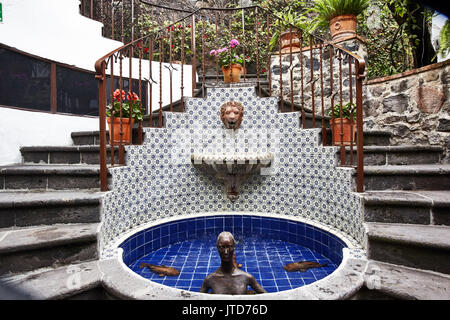 staircase in circle ; America; Mexico; Guanajuato; San Miguel de Allende city; La Puertecita hote - Stock Photo
