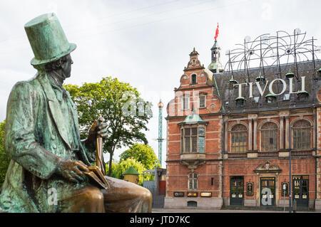 Copenhagen, Denmark, City Hall square, the Hans Christian Andersen statue looking toward the Tivoli park entrance - Stock Photo