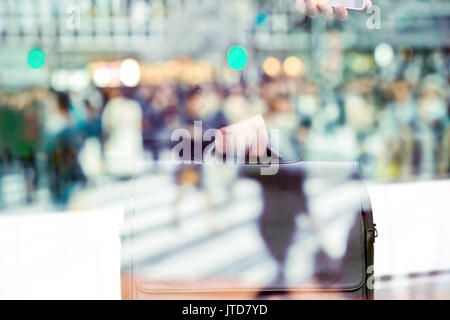 abstract image of business man background, business man and People commuting in rush hour at zebra crossing double - Stock Photo