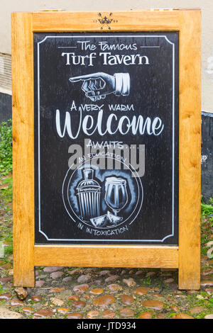 Turf Tavern sign at Oxford, Oxfordshire in August - Stock Photo