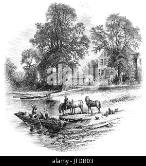 1870: A small Ferry near the Bells of Ouseley Pub on the River The River Thames at Old Windsor, Berkshire, England. - Stock Photo