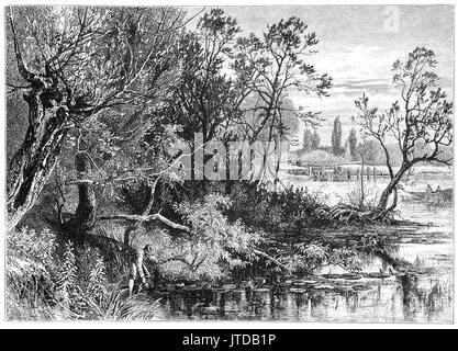 1870: Man collecting a jug of water near Temple Lock on the River Thames where there has been a weir and flash lock - Stock Photo