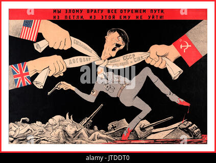 Vintage Russian Soviet World War Two Propaganda Poster Hitler being strangled by military propaganda pressure AXIS - Stock Photo