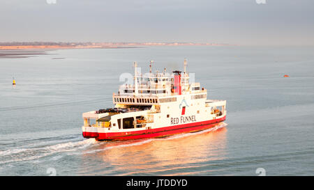 The Red Funnel ferry Red Falcon departs Southampton.  Red Funnel is a ferry company operating routes between England - Stock Photo