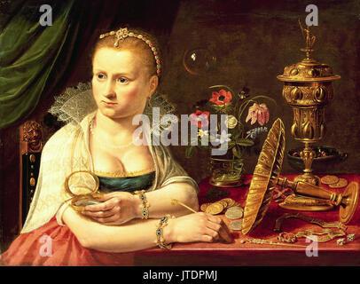 Vanitas painting, selfportrait most probably Clara Peeters - Stock Photo