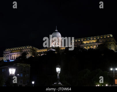 Royal Palace at night, Castle Hill, Budapest,Hungary - Stock Photo