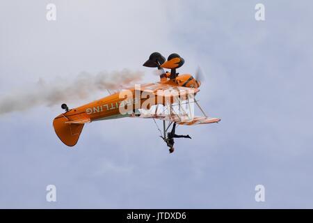 Breitling Wingwalker performing upside down - Stock Photo