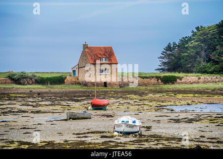 France, Brittany, Cotes-d'Armor department, tidal mill between the islets of Balanec and Illiec at Buguélès, Côte - Stock Photo