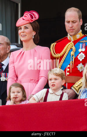 Princess Charlotte appears to be picking her nose on the balcony of Buckingham Palace, London following the Trooping - Stock Photo