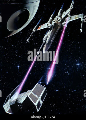 X-WING FIGHTER, TIE FIGHTER, STAR WARS: EPISODE IV - A NEW HOPE, 1977 - Stock Photo